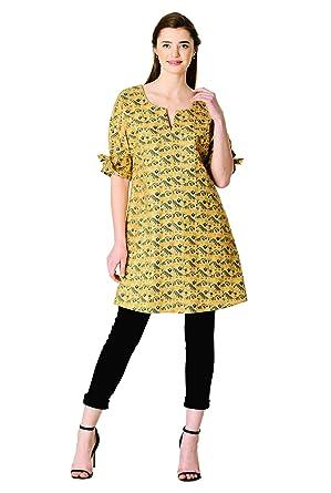 b1e62e939ae eShakti FX Tie-Cuff Tiger Print Cotton Tunic Ochre Yellow deep Navy at Amazon  Women s Clothing store