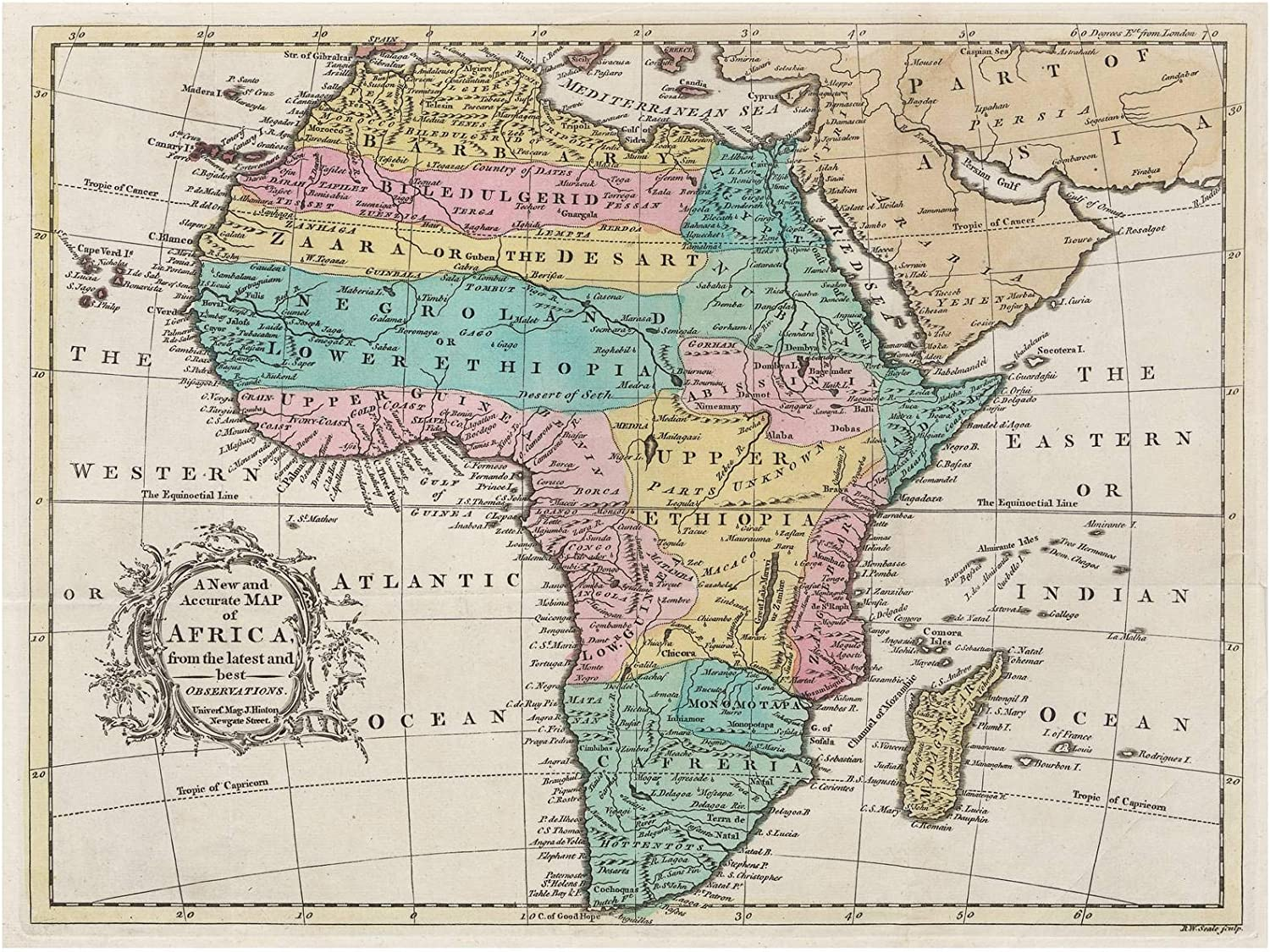 Accurate Map Of Africa Amazon.com: Historic 1747 Map   A New and Accurate map of Africa