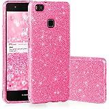 EGO ® Glitzer Schutzhülle für Huawei P9 Lite, Pink Back Case Bumper Glänzend Transparente TPU Bling Weiche Glamour Handy Cover Lipgloss