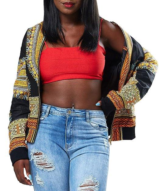 Simple-Fashion Primavera y Otoño Mujeres Bomber Chaquetas Vintage Africano Impresión Coat Cazadora Outwear Casual