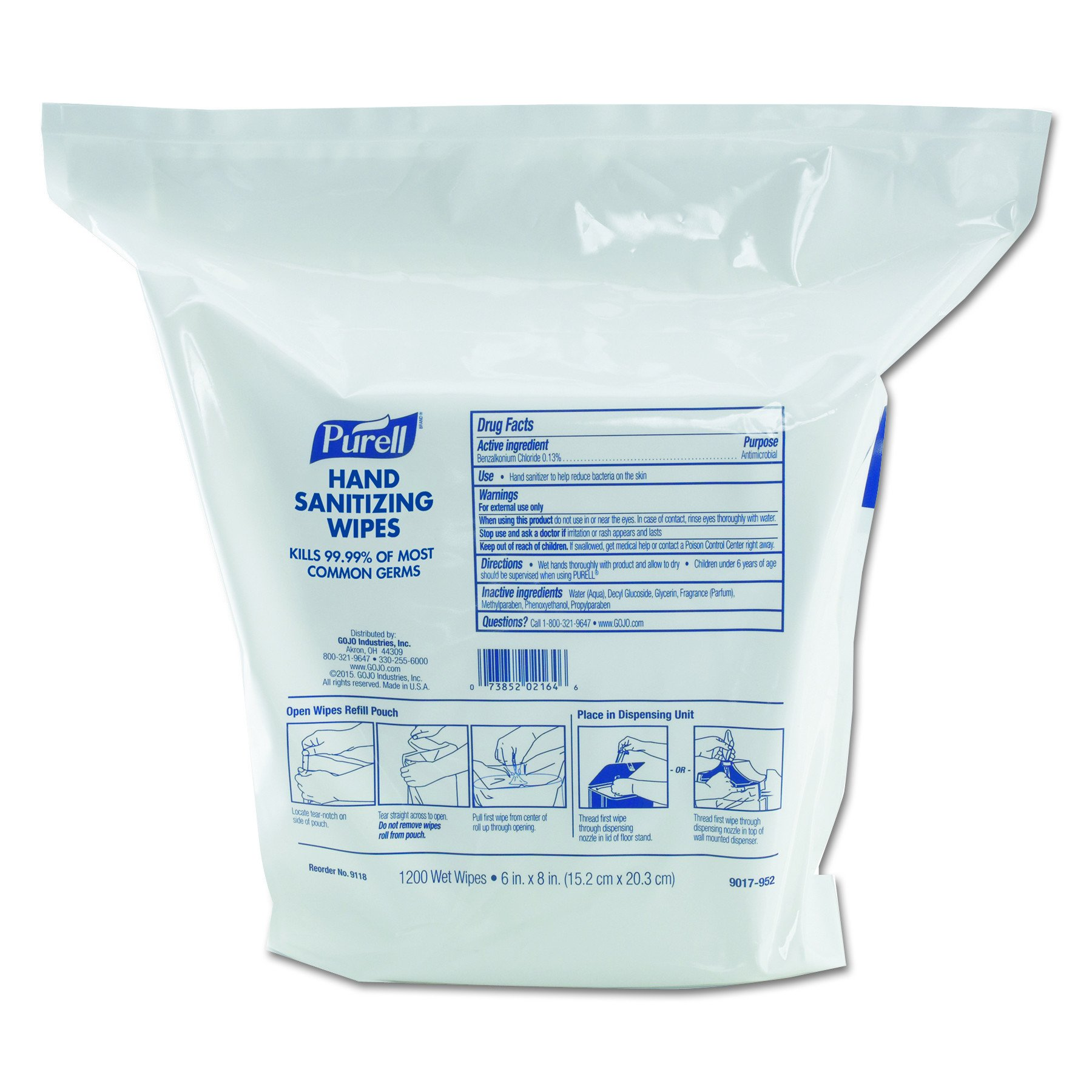 PURELL 911802 Hand Sanitizing Wipes, 6'' x 8'', White, 1200/Refill Pouch (Case of 2 Refills)