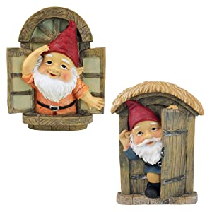 Design Toscano Garden Gnome Statue - Knothole Welcome Gnomes - Gnome Tree Door and Window Set - Fairy Garden - Gnome Village