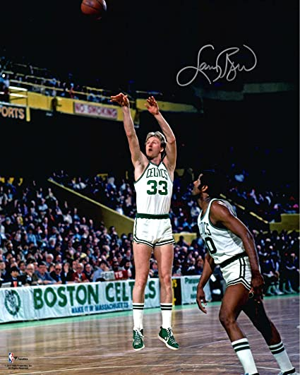 63b7ce93a55 Larry Bird Boston Celtics Autographed 16 quot  x 20 quot  Shooting in White  Jersey Photograph -