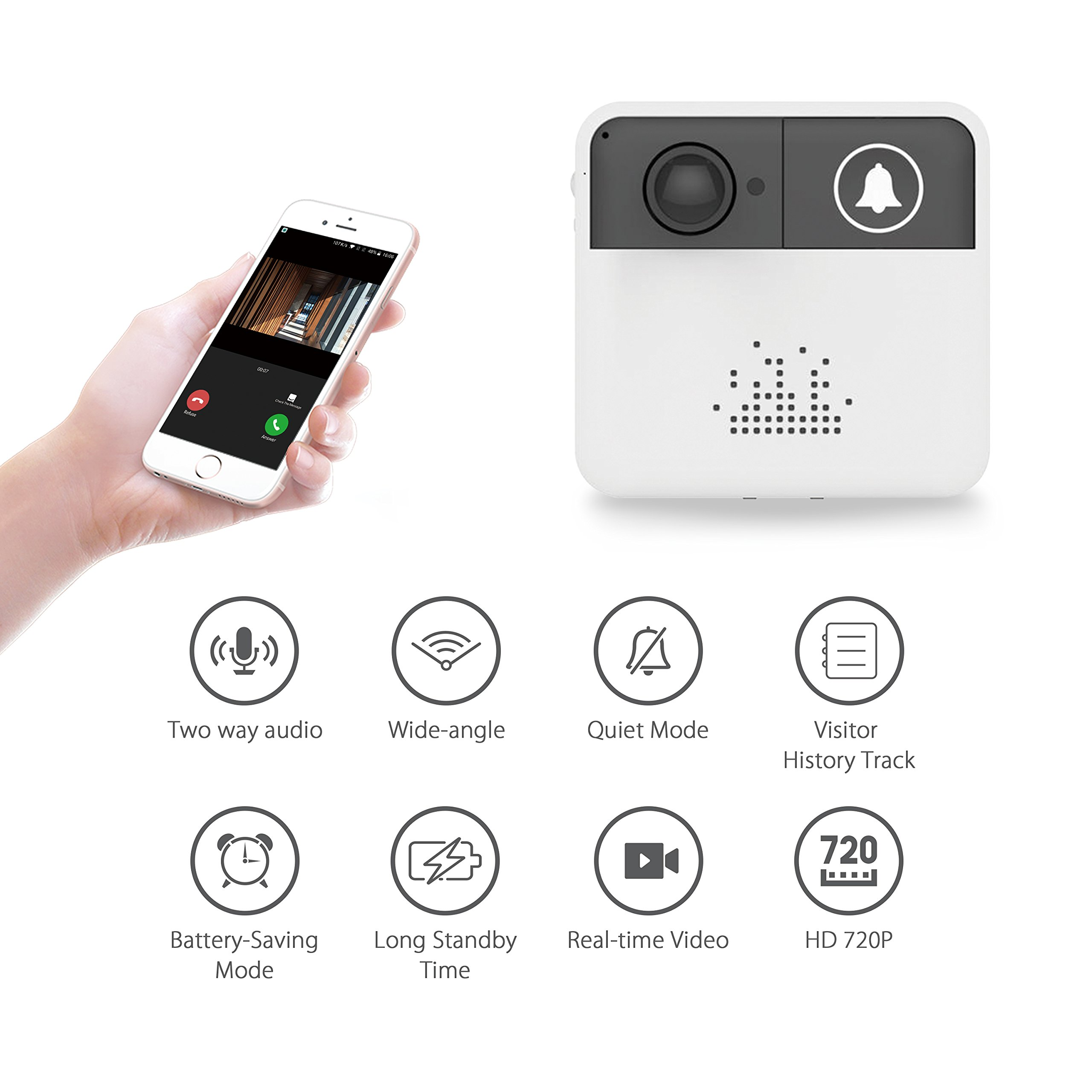 Security Doorbell Camera,Smart Video Doorbell 720P HD WiFi Home Security Camera Mobile Door Bell Ring Battery Powered,Real-Time Two-Way Talk Video,Free App Both iOS Android