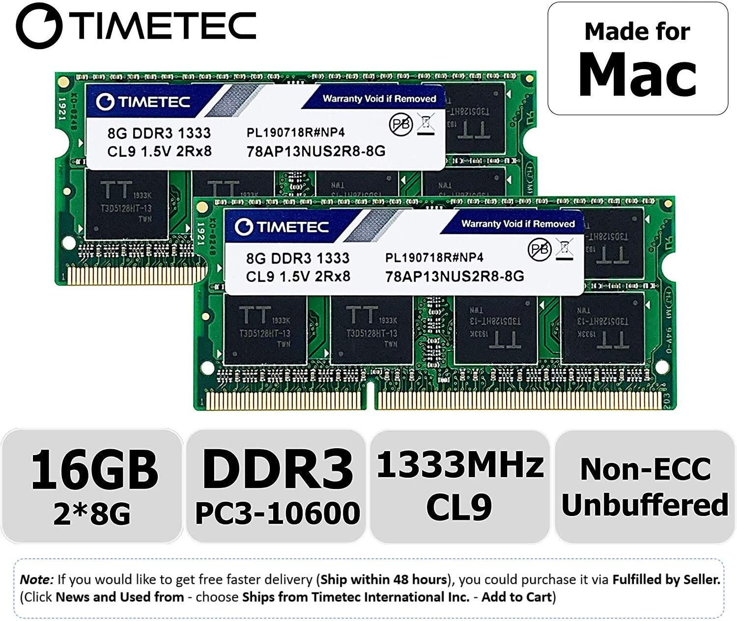 Memoria ram 16GB KIT(2x8GB) DDR3 1333MHz PC3-10600 apple