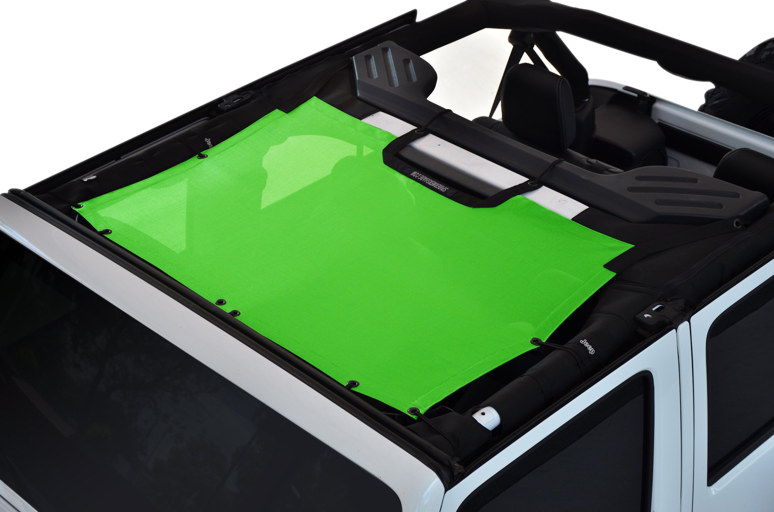 SPIDERWEBSHADE Jeep Wrangler JKini Mesh Shade Top Sunshade UV Protection Accessory USA Made with 5 Year Warranty for Your JK 2-Door and JKU 4-Door (2007-2017) in Green