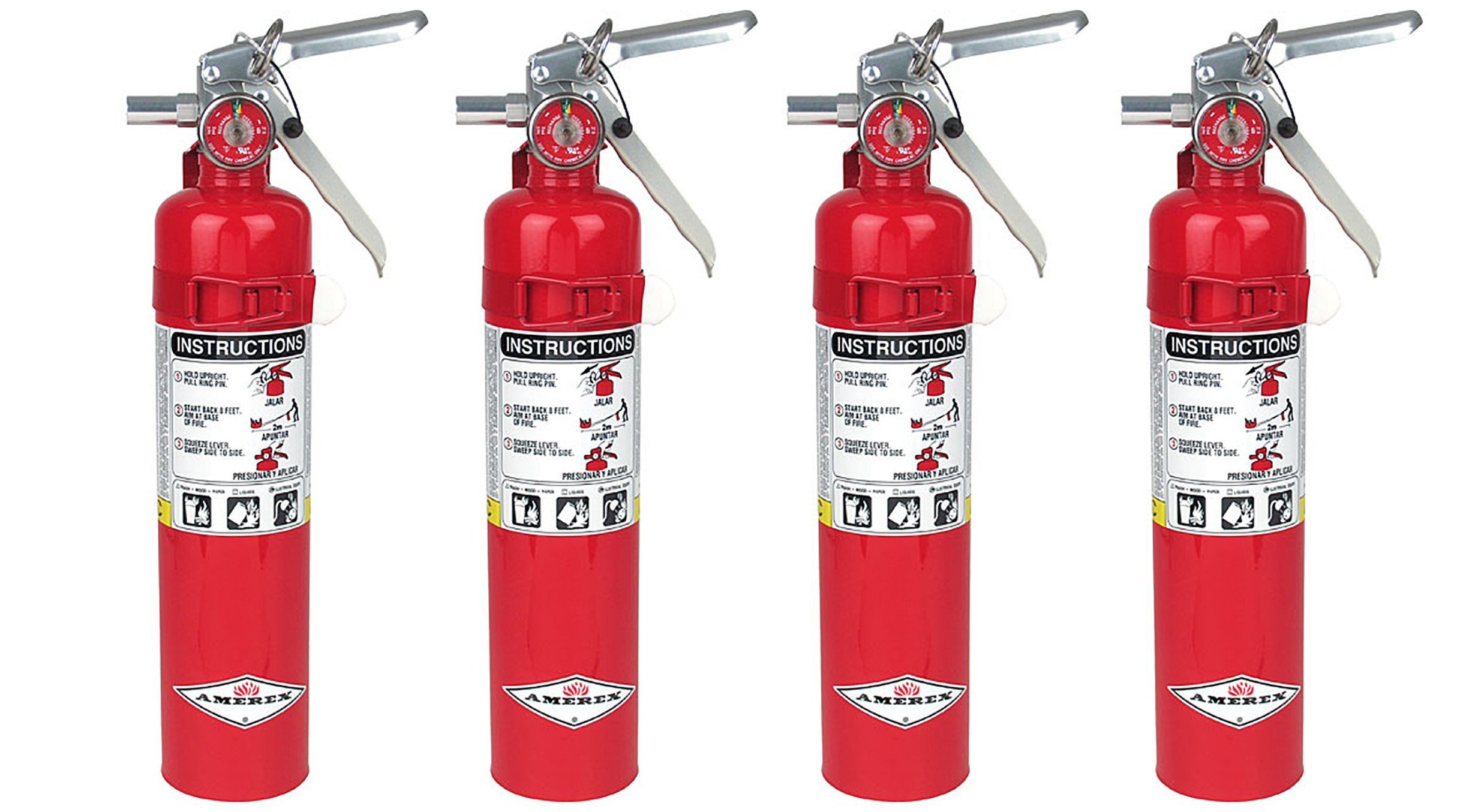 Amerex B417, 2.5lb ABC Dry Chemical Class A B C Fire Extinguisher, with Wall Bracket (4, 5.25 pounds)