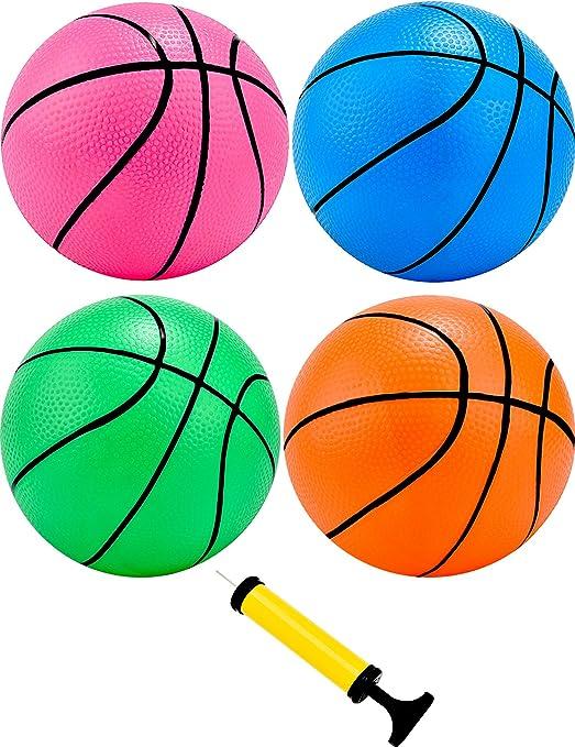 Tecunite Juego de 4 mini pelotas de baloncesto de 12,7 cm con ...
