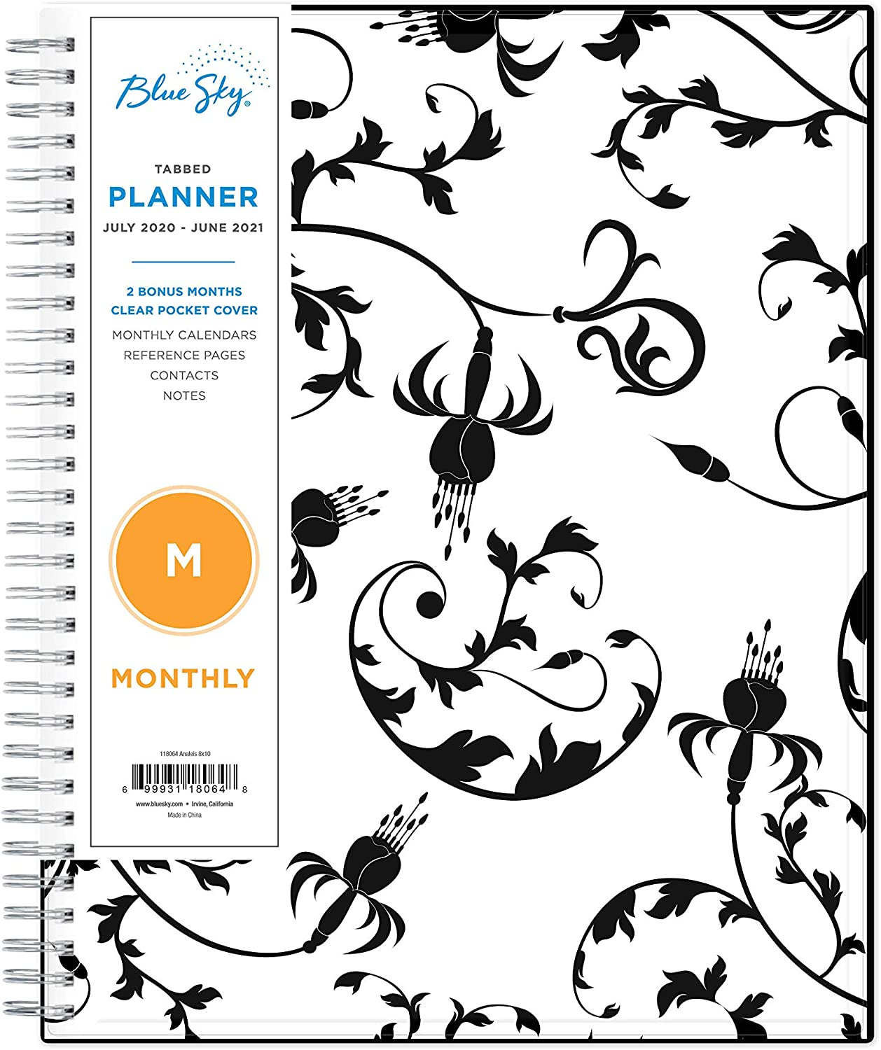 """Blue Sky 2020-2021 Academic Year Monthly Planner, Flexible Cover, Twin-Wire Binding, 8"""" x 10"""", Analeis"""