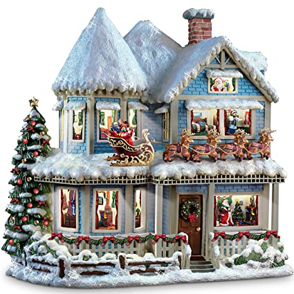 thomas kinkade twas the night before christmas collectible story house by the bradford exchange