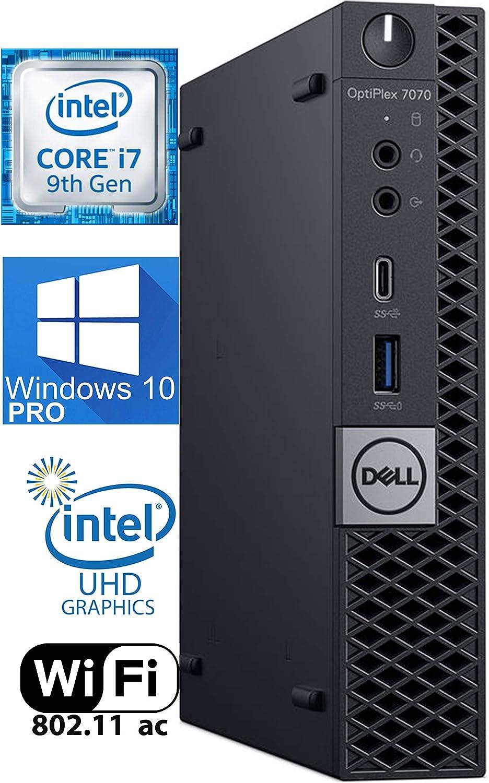 Dell OptiPlex 7070 Micro Desktop Computer - Core i7-9700T - 2.0GHz to 4.3GHz 32 GB RAM - 1TB M.2 NVME SSD – AC Wi-Fi, Bluetooth 5.0 - Windows 10 Pro