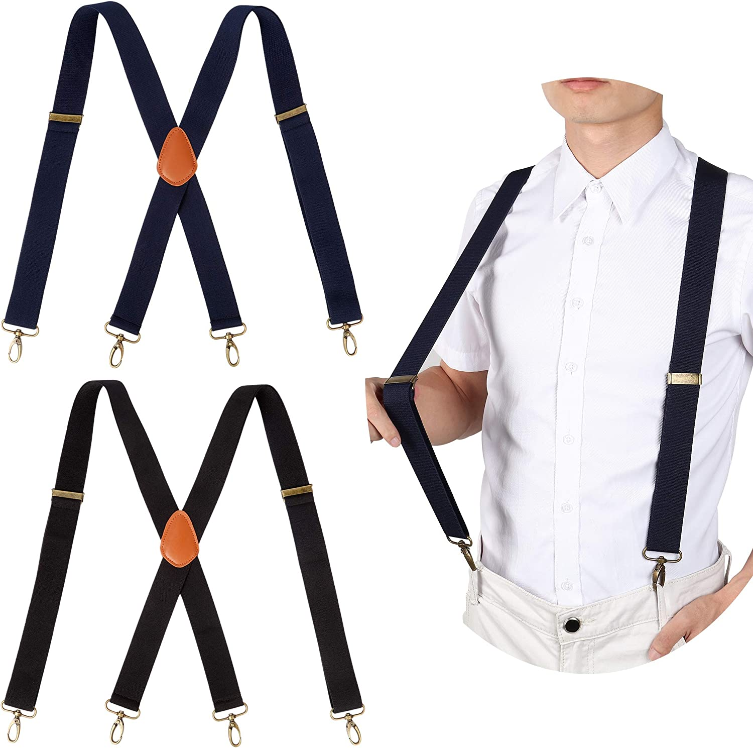 2PCS Mens Suspenders Heavy Duty Strong Hooks Adjustable Elastic Braces Big  and Tall X-Back (1xBlack+1xBlue) at Amazon Men's Clothing store