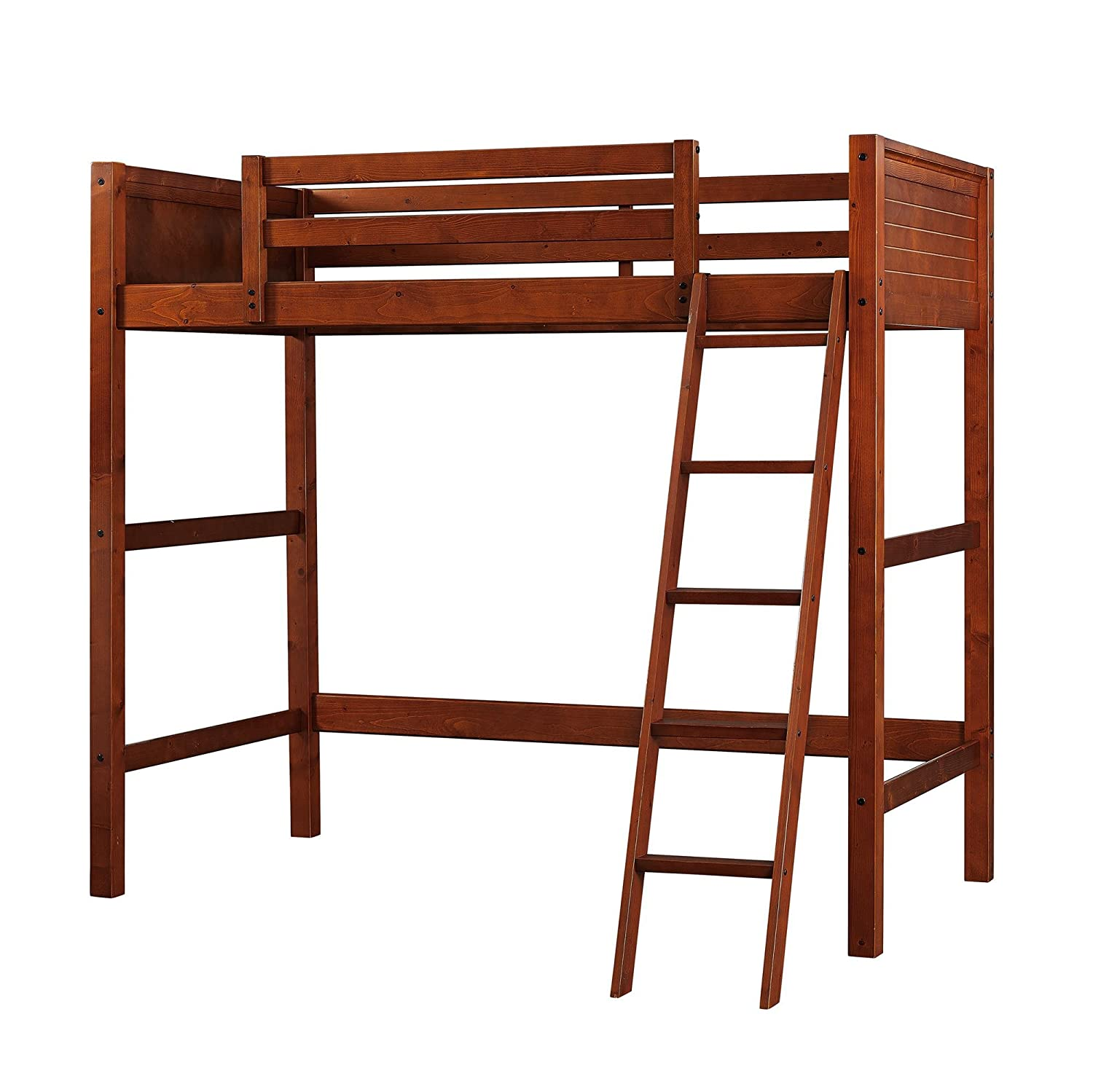 Twin wood loft style bunk bed walnut color bedroom furniture for kids and teens the loft bed includes a solid panel headboard and footboard and ladder