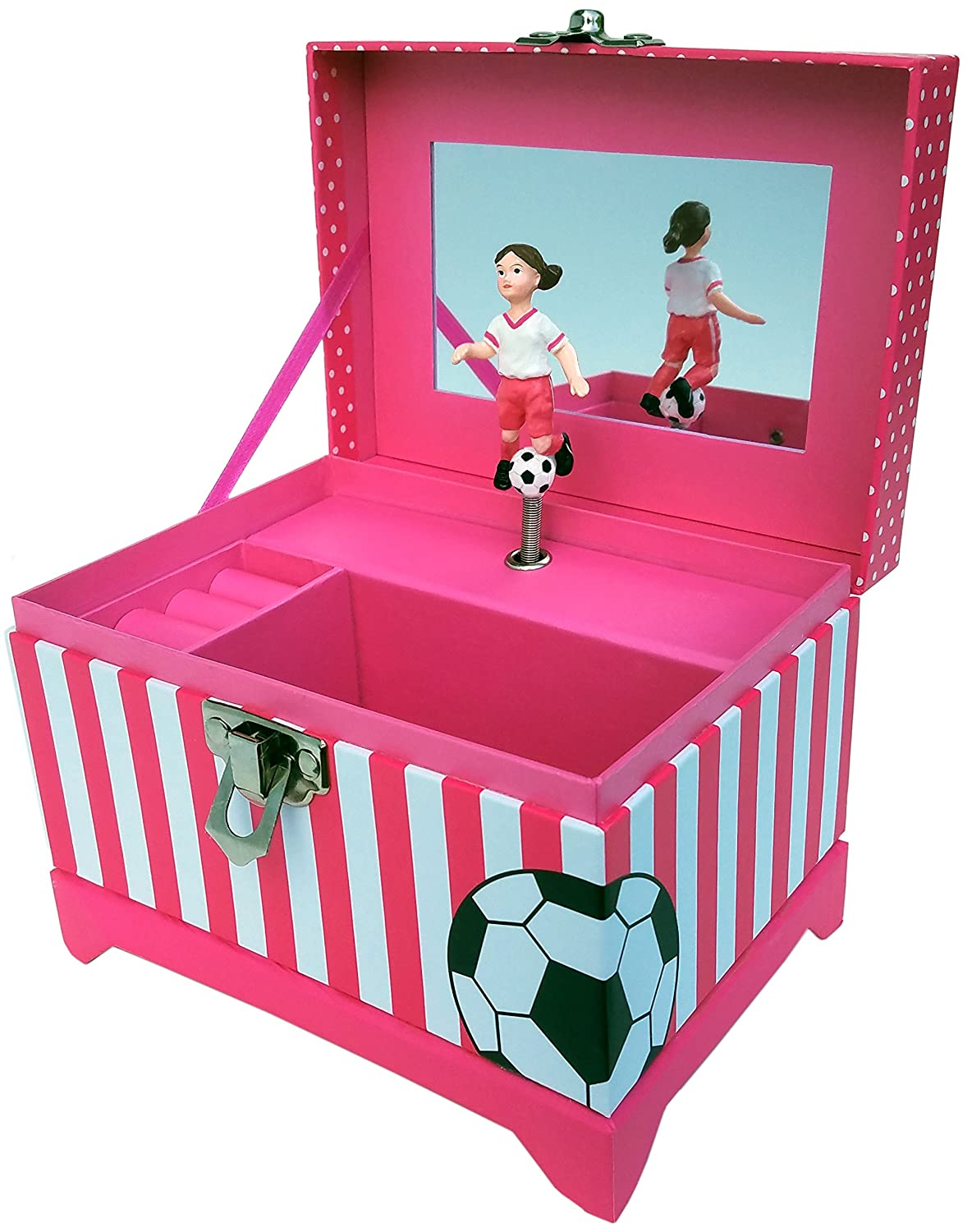 Just Like Me Soccer Player Musical Jewelry Box (Brown Hair Figurine)