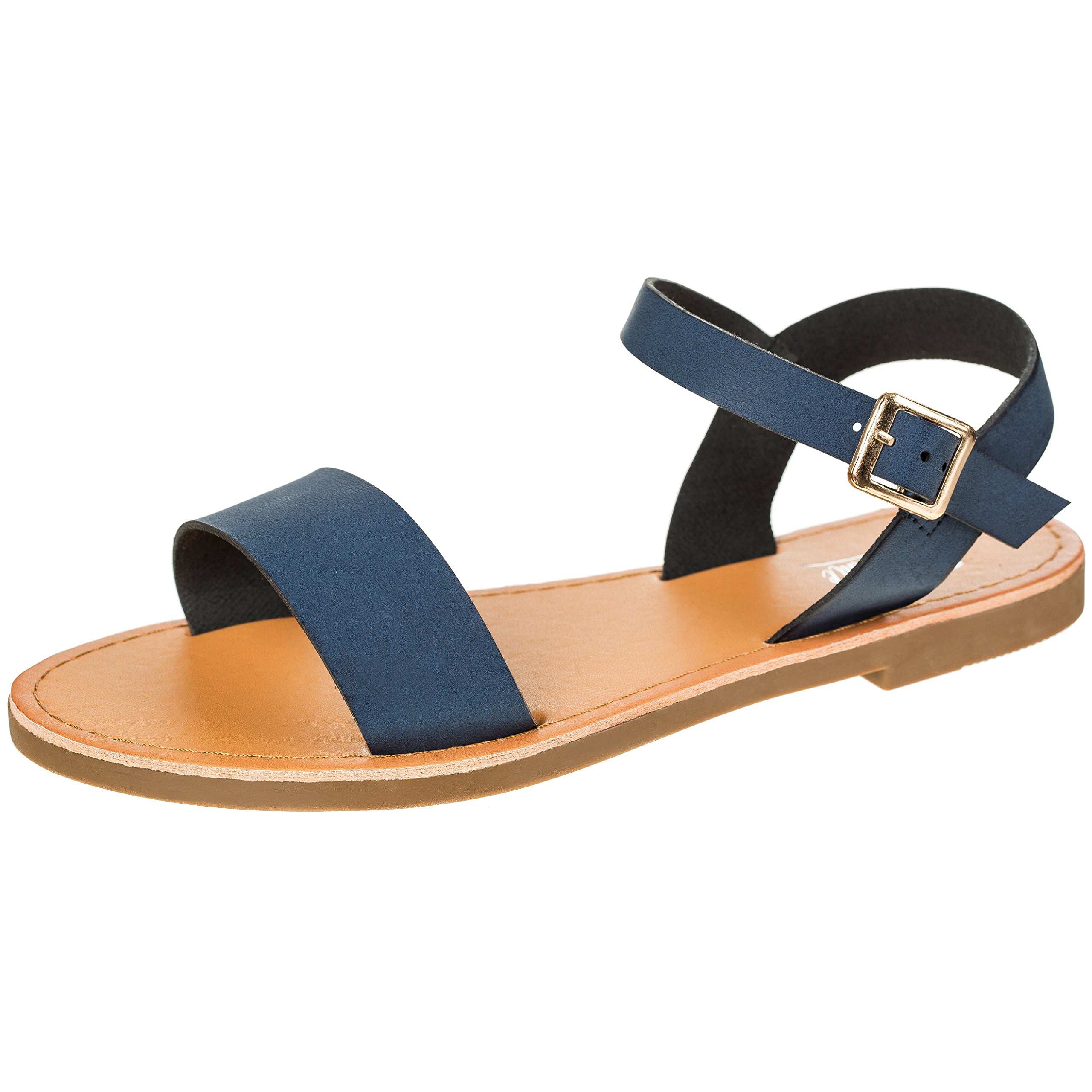 Women's Shoe Comfort Simple Basic Ankle Strap Flat Sandals (8 B(M) US, Navy)