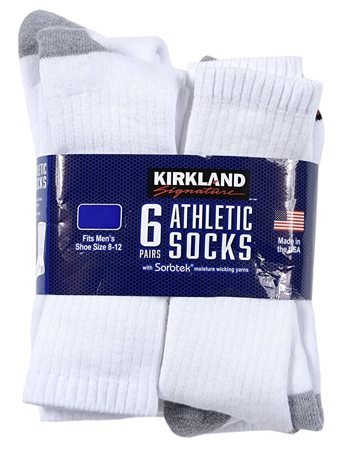 290f2fa5a Kirkland Signature Men s Crew Socks L - 6 Pair (Size 8-12) at Amazon Men s  Clothing store