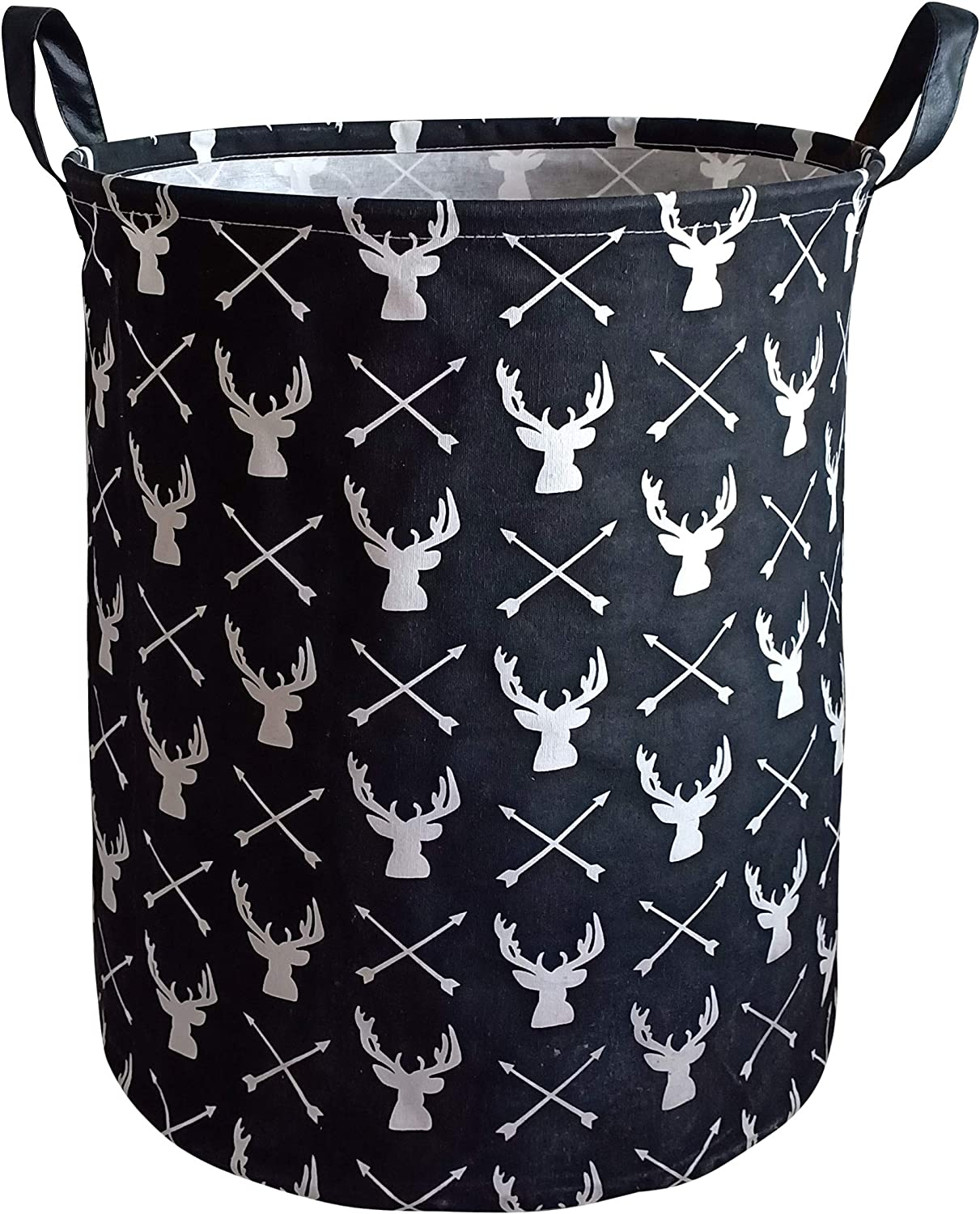 KUNRO Large Sized Storage Basket Waterproof Coating Organizer Bin Laundry Hamper for Nursery Clothes Toys (Deer)