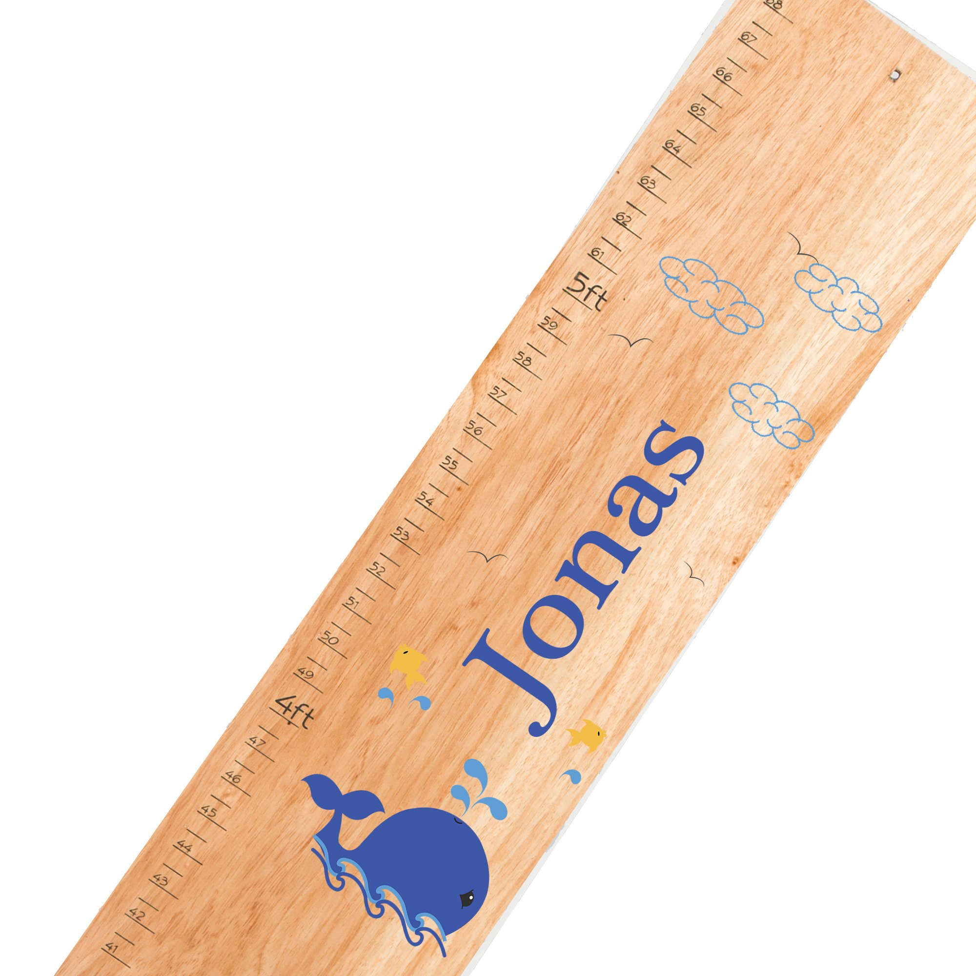 Personalized natural Whale Blue childrens wooden growth chart