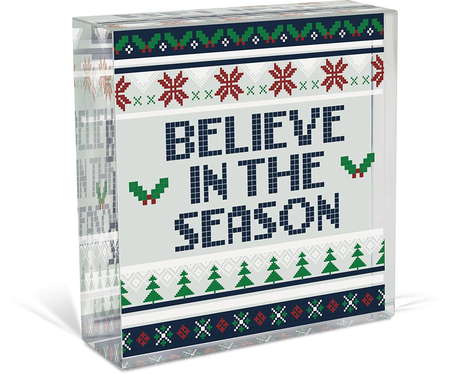 11322 AngelStar Believe in The Season Glass D/écor Plaque 3 Inch