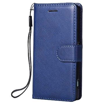 DENDICO Funda Sony Xperia Z3 Mini, Flip Libro Cuero Carcasa, Diseño Clásico Funda Plegable Cover para Sony Xperia Z3 Mini - Azul Marino