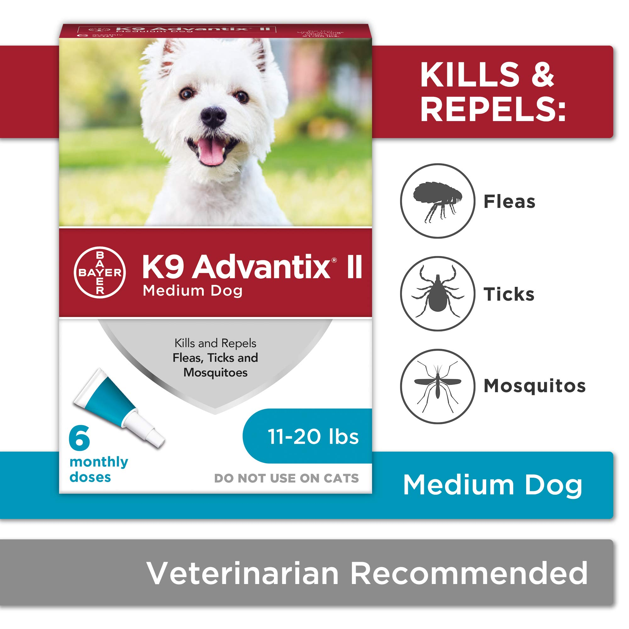 Flea and tick prevention for dogs, dog flea and tick treatment, 6 doses for dogs 11-20 lbs, K9 Advantix II by Bayer Animal Health