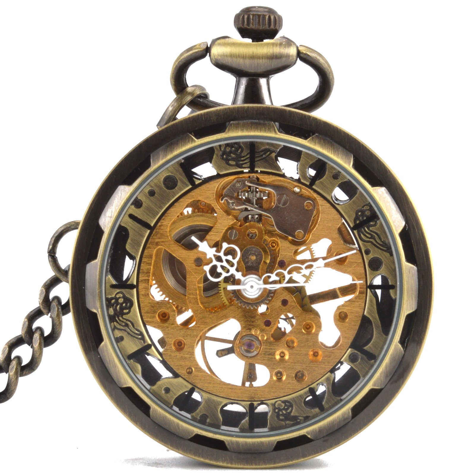 WENSHIDA Open Face Pocket Watch Steampunk Bronze Mens Transparent Skeleton Mechanical Chain + Gift Box