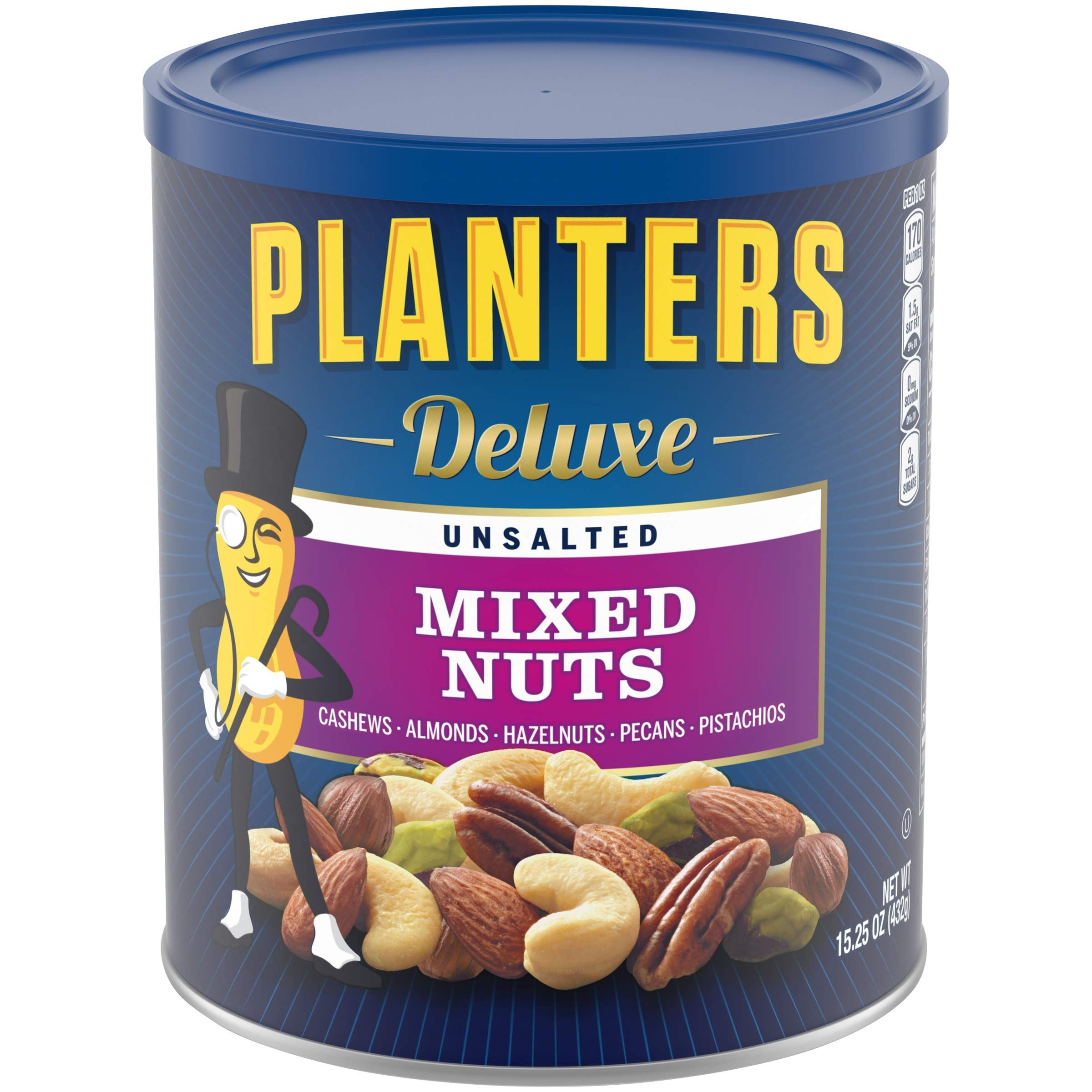 Planters Deluxe Unsalted Mixed Nuts (15.25 oz Canister) Variety Mixed Nuts with Cashews, Almonds, Hazelnuts, Pecans and Pistachios