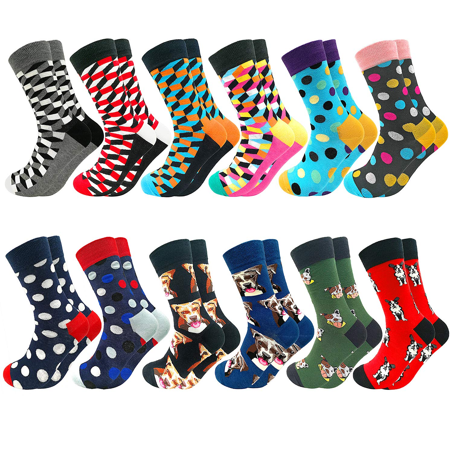 Fun Colorful Socks Patterned Funky Happy Crew Sock Combed Cotton Stockings Packs