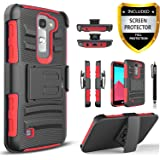 LG K7 Case, LG Treasure LTE Case, LG K8 Case, LG Tribute 5 Case, LG Escape 3 Case, LG Phoenix 2 Case, Circlemalls Combo Rugged Holster Phone Cover with [HD Screen Protector] and Stylus Pen - Red