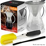 Pour Over Coffee Maker Dripper - (18 oz/3.5 Cup) with 2 FREE Cleaning BRUSHES & Surgical Stainless Steel Double Mesh Filter PLUS Recipe EBOOK by Pykal