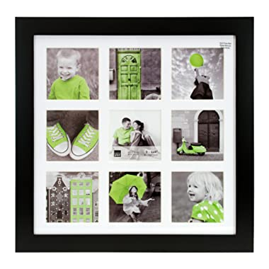 kieragrace Langford Picture Frame, 14 by 14-Inch Matted For 9- 4 by 4-Inch Photo, Black
