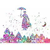 "ArtDash Watercolor Splatter Pop Art Print ~ Inspired by MARY POPPINS: Town Scene (8""×10"" print)"
