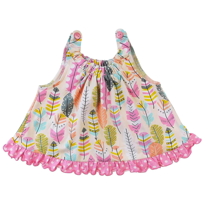 AnnLoren Baby//Toddler Girls Open Back Swing Tank Top with Bow Feather Design 3-6 mo 6-12 mo 12-24 mo