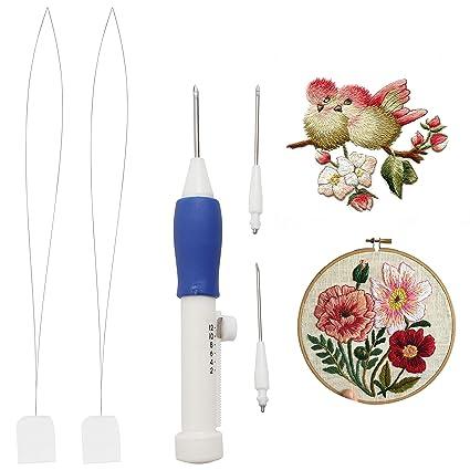 Herramienta para perforar bolígrafo de 3 piezas con 2 Agujas de repuesto y enhebradores de aguja