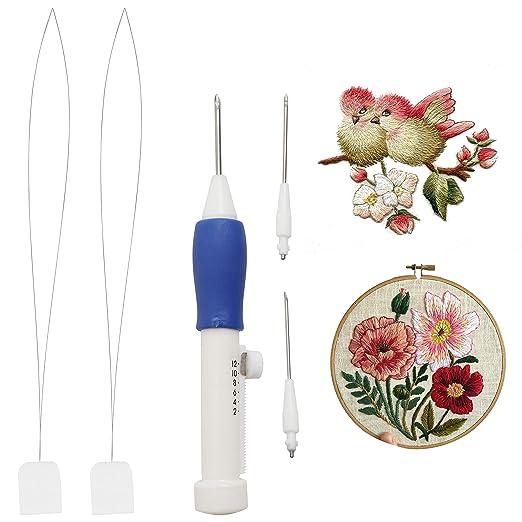 Herramienta para perforar bolígrafo de 3 piezas con 2 Agujas de repuesto y enhebradores de aguja de Curtzy - Accesorios de costura para coser, ...