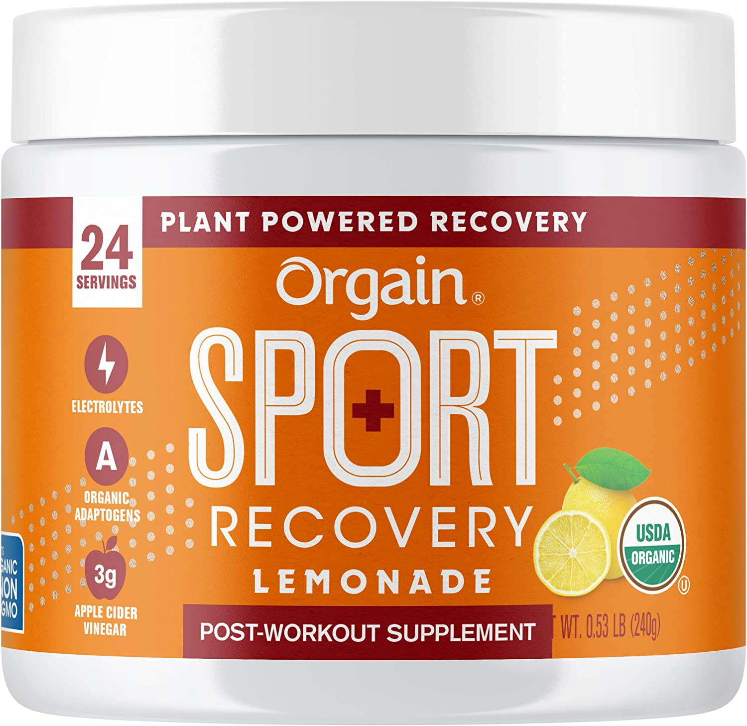 Orgain Lemonade Sport Recovery Post-Workout Powder - Made with Apple Cider Vinegar, Turmeric, Ginger, and Ashwaganda, Gluten Free, Non-GMO, Vegan, Dairy and Soy Free - 0.53 lbs