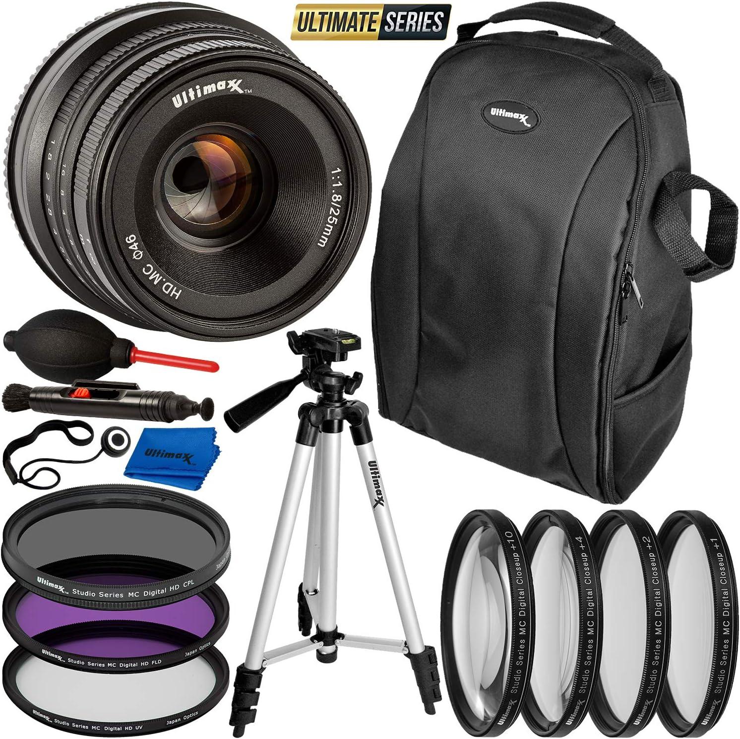 a99II a6000 A7RIII a3000 A7 A7III A7R a5100 a9 a6300 A7II Ultimaxx 25mm f//1.8 Manual Lens Kit for Sony FS7 a6500 a5000 A7SII FS7M2 NEX Series /& Other E-Mount Cameras FS5M2K FS5