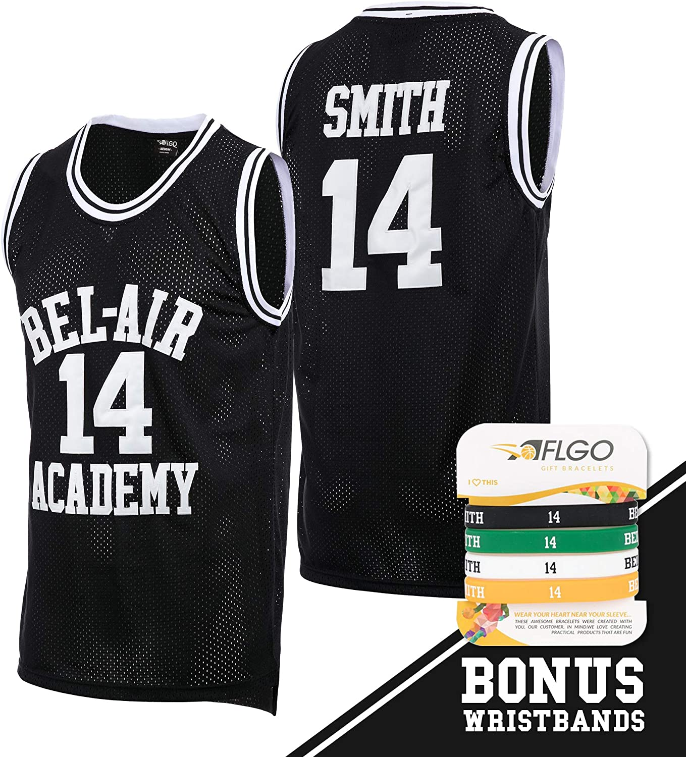 AFLGO The Fresh Prince of Bel Air Academy Jersey Will Smith Incluent Ensemble de Bracelets S-XXL