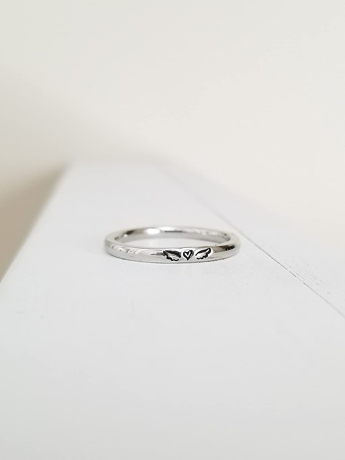 Miscarriage Ring Angel Wing Ring Tiny 2mm Hand Stamped Hypoallergenic Stainless Steel Personalized
