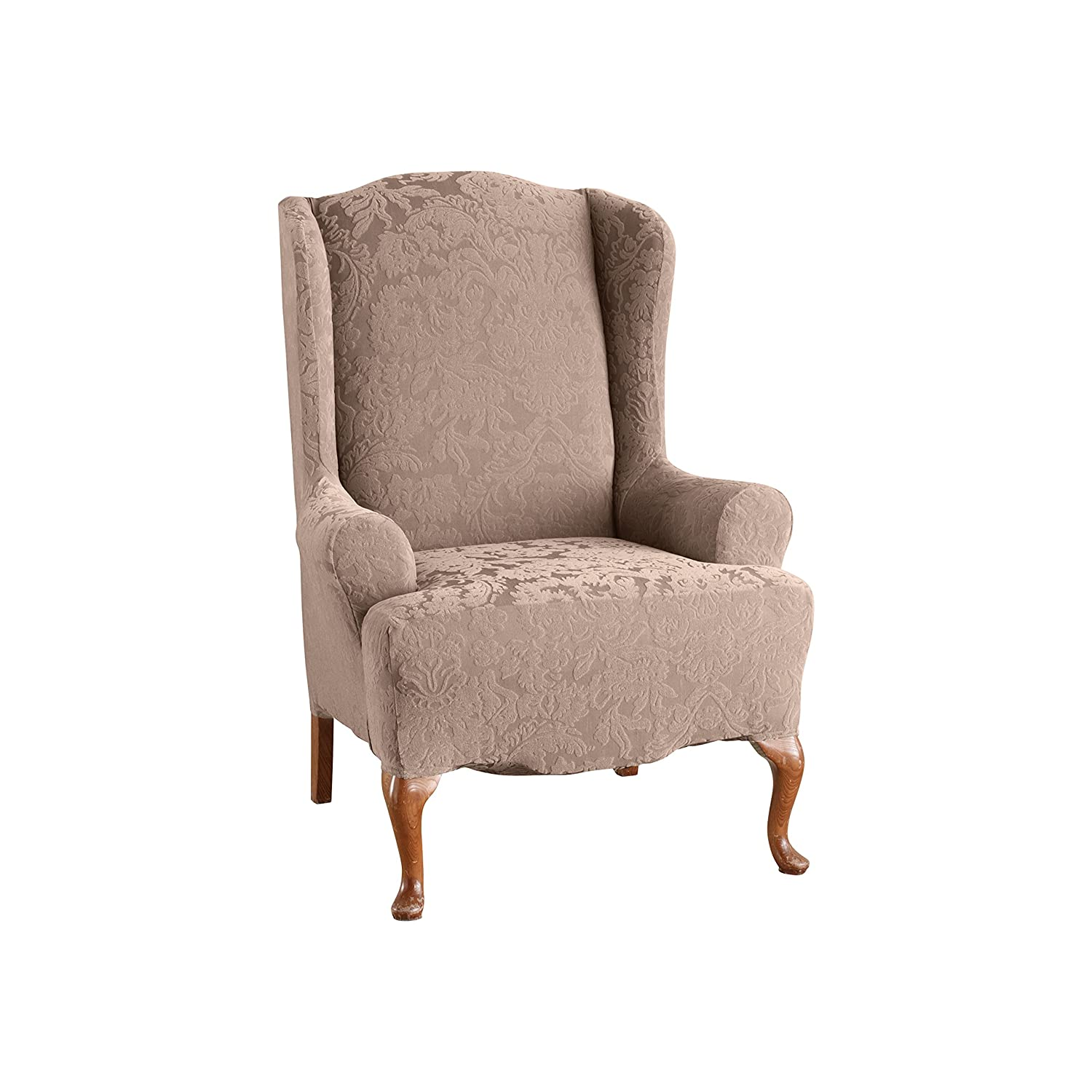 Amazon.com: Sure Fit Stretch Jacquard Damask   Wing Chair Slipcover    Mushroom (SF39614): Home U0026 Kitchen