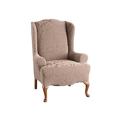 Outstanding Surefit Stretch Jacquard Damask Wing Chair Slipcover Mushroom Sf39614 Machost Co Dining Chair Design Ideas Machostcouk