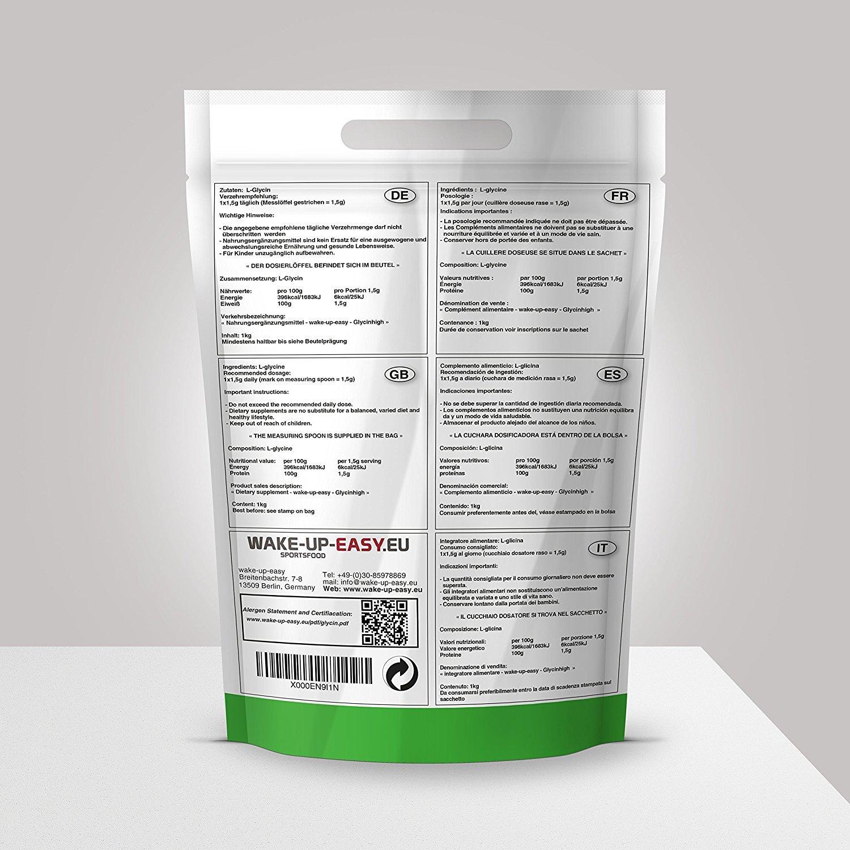 1 kg de l glicina puro Polvo, N- Essentielle, proteinogene a de Amino Acid, 1000g glicina polvo: Amazon.es: Salud y cuidado personal