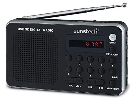 Sunstech RPDS32SL - Radio portátil digital (AM/FM PLL, altavoz, USB,