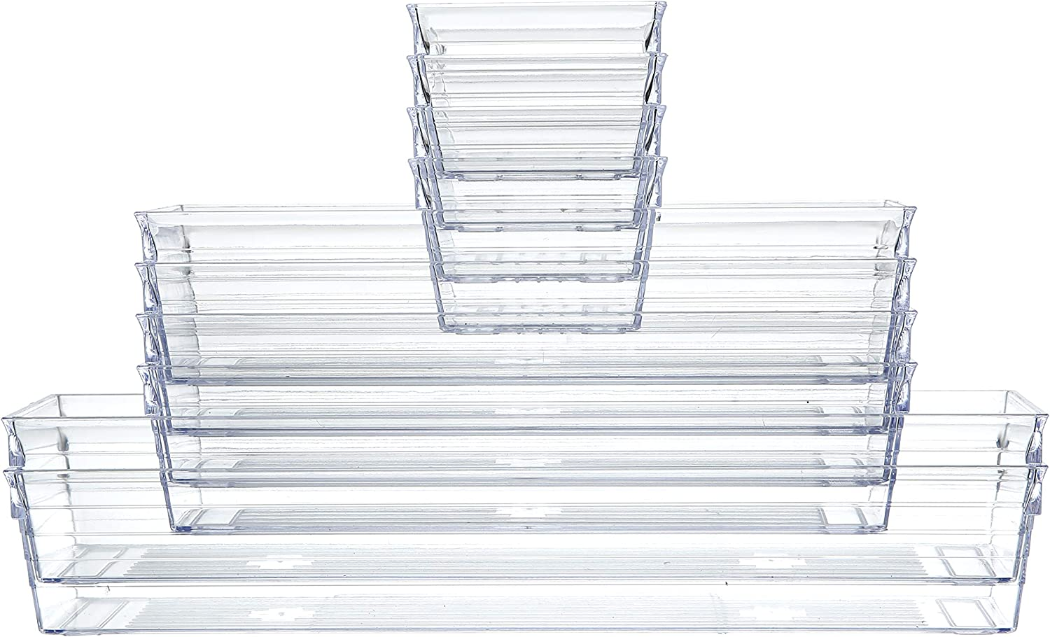 Clear Plastic Drawer Organizer Tray for Vanity Cabinet (Set of 10),Storage Tray for Makeup, Kitchen Utensils, Jewelries, and Gadgets: Home Improvement