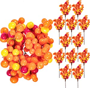 Whaline Autumn Orange Berry Twig Stem, 12 Pack Artificial Orange Berry Picks for Fall Decor, Christmas Tree Decorations, Crafts, Wedding, Holiday Home Decoration