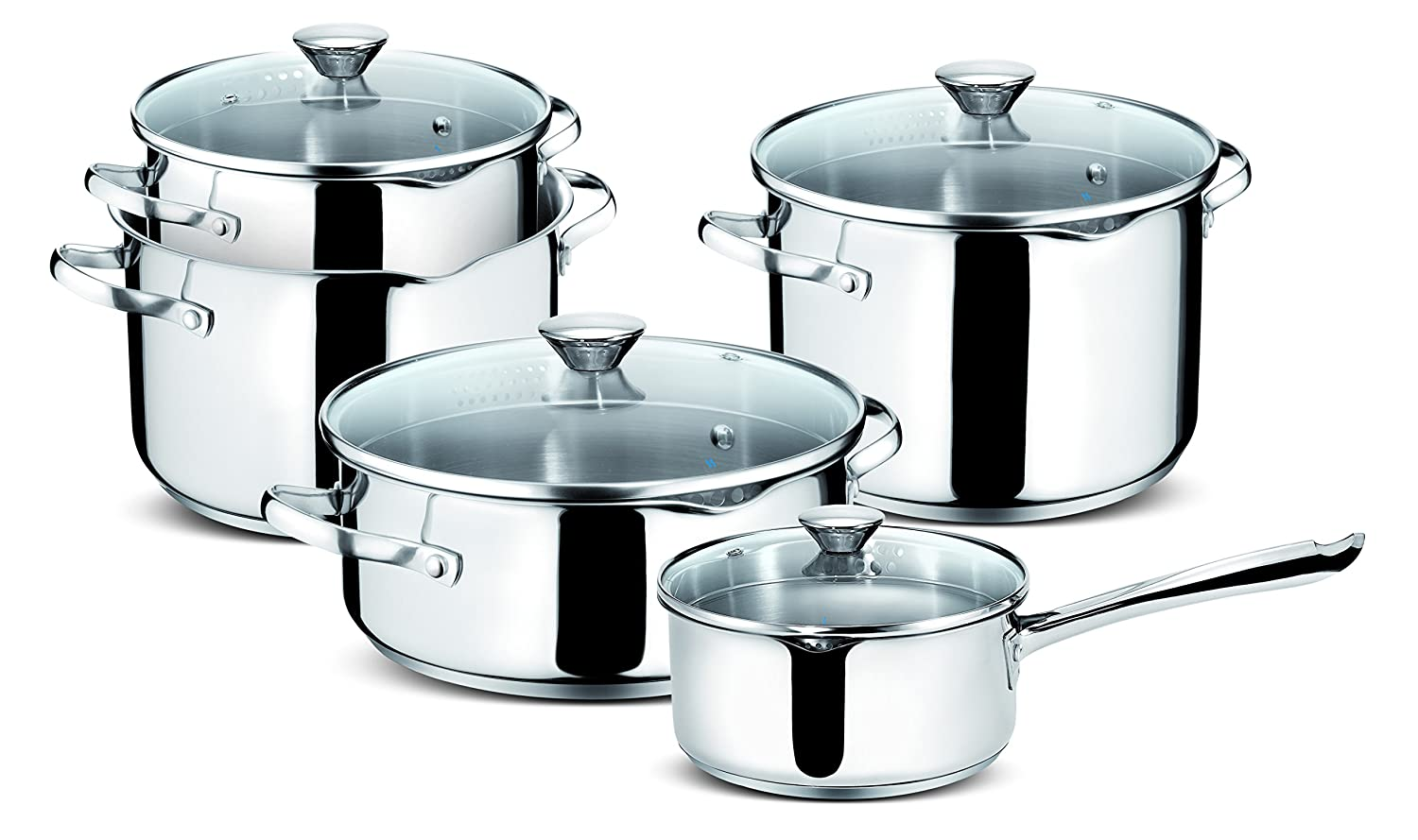 Lagostina Smart Set of Saucepans in Stainless Steel, 9 Pieces 010716600009