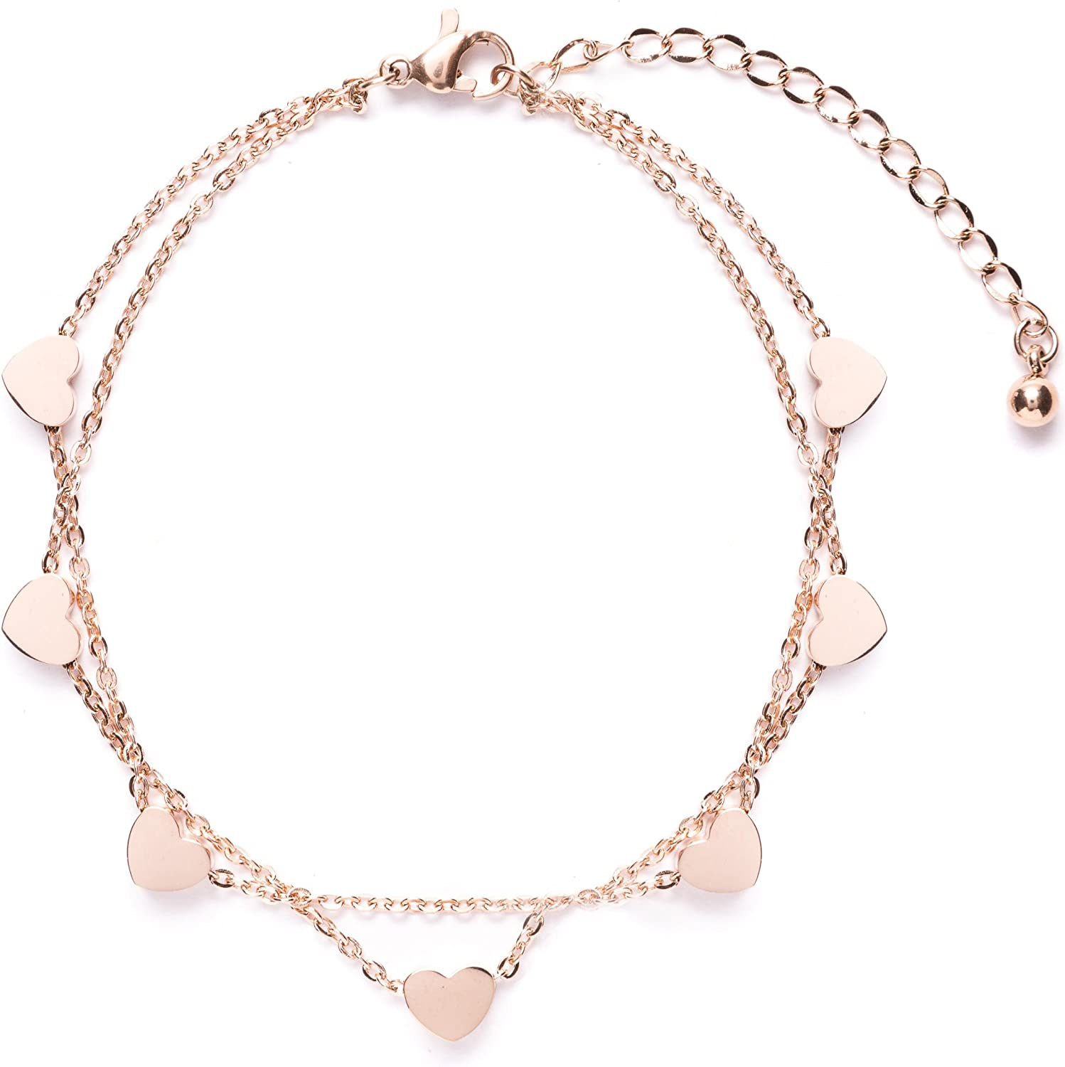 Happiness Boutique Women Delicate Bracelet Heart Charms in Rose Gold Double Stranded Bracelet