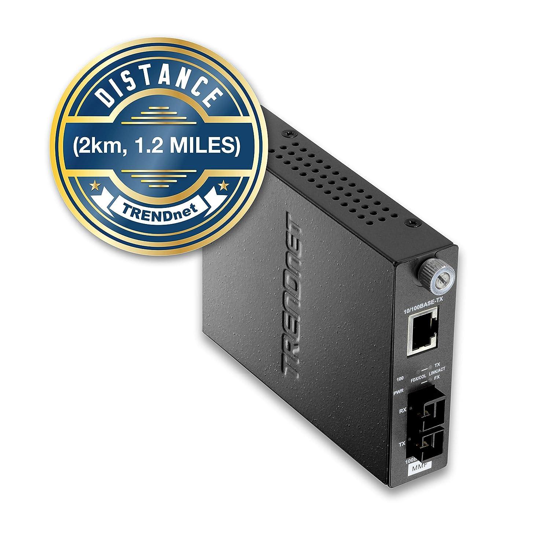 TRENDnet 100Base-TX to 100Base-FX Multi Mode SC Fiber Converter (2 Km, 1 2  Miles), Auto-Negotiation, Auto-MDIX, Full-Duplex Mode, Wall Mountable,