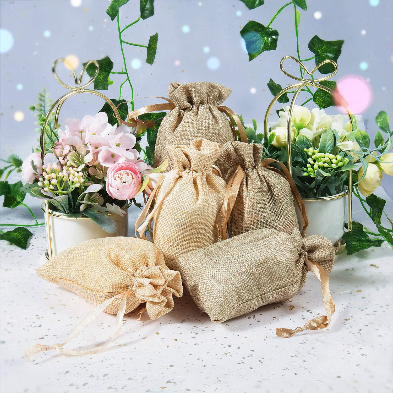 Sacs de Jute Mini Sacs de Cadeau l/égers,pour Bijoux Cadeau Mariage,la f/ête,10 x 15 cm Jolinetek Sacs en Toile de Jute avec Cordon de Serrage,Lot de 20 Pcs Pochettes Sachets en Lin Chanvre