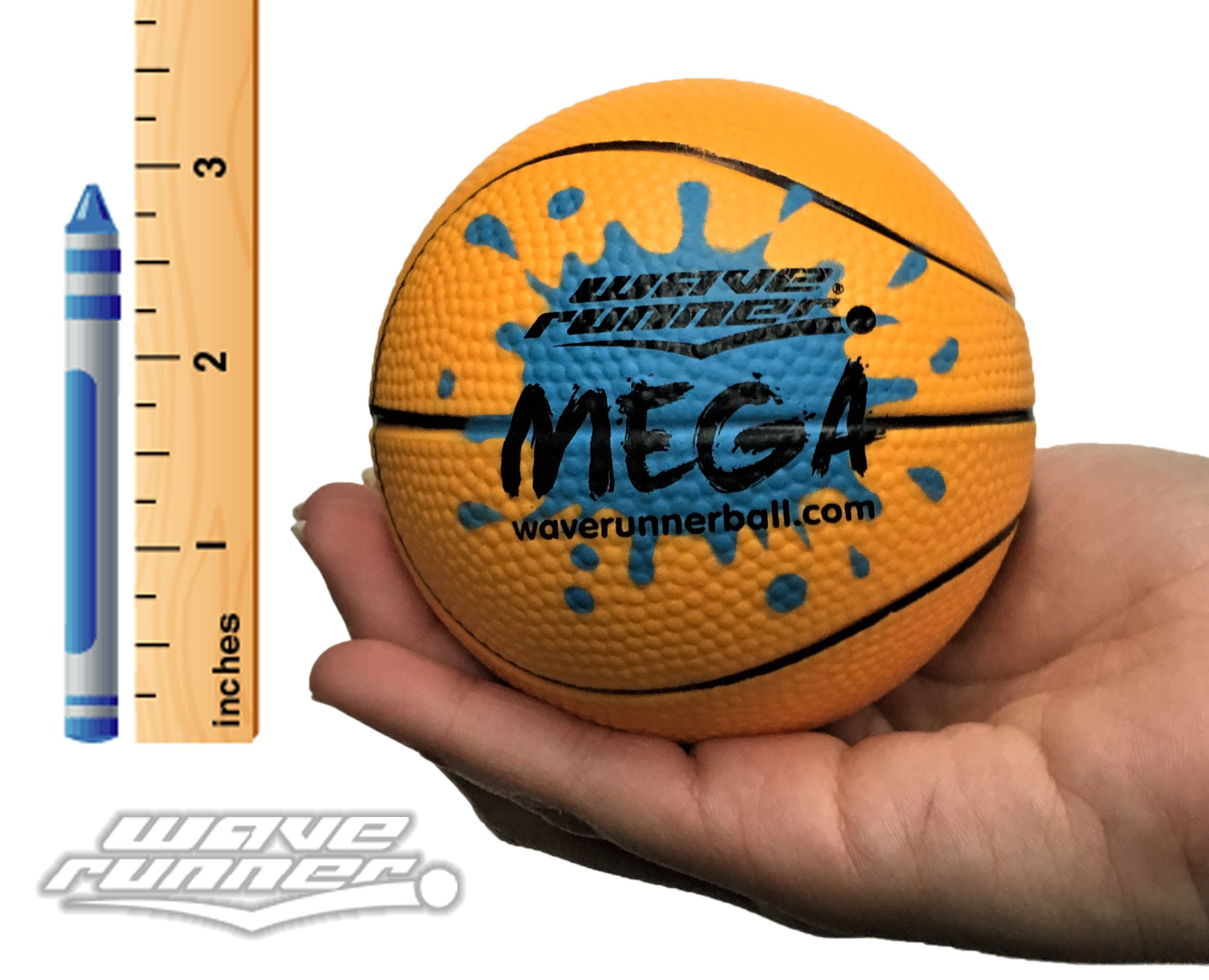 Wave Runner Water Skipping Ball Basketball Style 3.5'' Advance Water Bounce Fun (Orange)